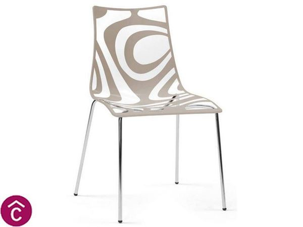 Sedia moderna a 4 gambe Wave scab design