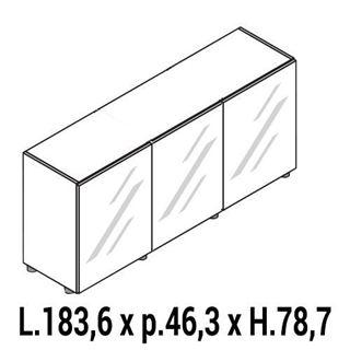 Immagine di IULIO HG: Mobile contenitore basso a 3 ante chiuso