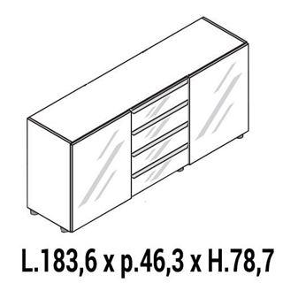 Immagine di IULIO HG: Mobile contenitore basso a 2 ante chiuso e cassettiera