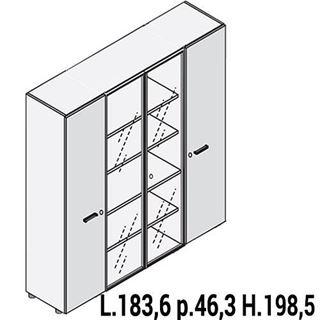 Immagine di IULIO: Mobile contenitore alto con 2 ante e 2 ante vetro e serratura