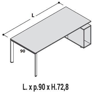 Immagine di 5th ELEMENT : Scrivania Profondità 90cm con mobile-base Dx o Sx