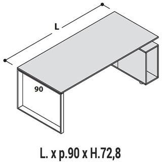 Immagine di 5th ELEMENT : Scrivania con gambe a LOOP con Profondità 90cm e con mobile-base Dx o Sx