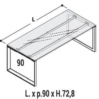 Immagine di 5th ELEMENT : Scrivania in vetro con gambe a loop Profondità 90cm