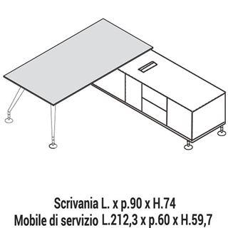 Immagine di Enosi Evo: Composizione Scrivania con Mobile di servizio L.212,3 Dx o Sx