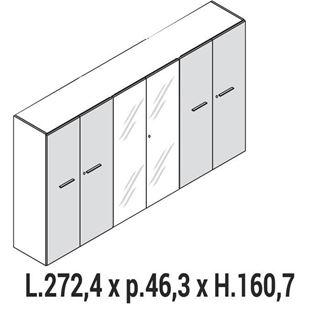 Immagine di Enosi Evo: MOBILE CONTENITORE medio A 4 ANTE legno E 2 ante vetro