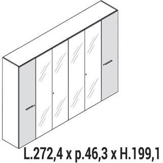 Immagine di Enosi Evo: MOBILE CONTENITORE alto A 4 ANTE vetro E 2 ante legno