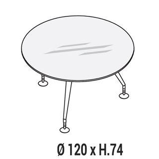Immagine di Enosi Evo: Tavolo riunione circolare con piano in cristallo profondità Ø 120cm