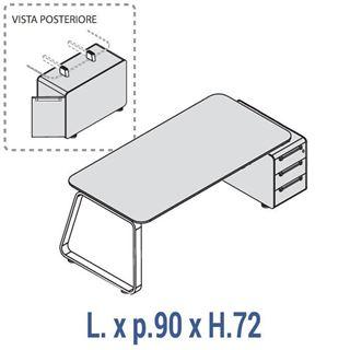 Immagine di 70's: Scrivania profondità 90 con cassettiera base Dx o Sx