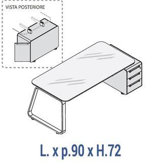 Immagine di 70's: Scrivania con piano in cristallo profondità 90 con cassettiera base Dx o Sx