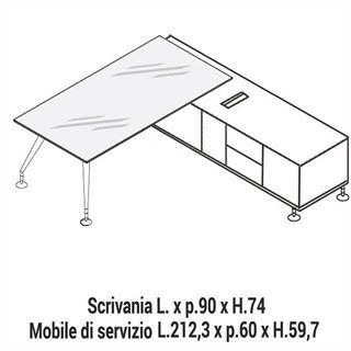 Immagine di Enosi Evo: Composizione Scrivania in cristallo con Mobile di servizio L.212,3 Dx o Sx
