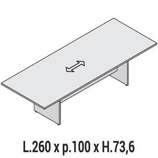 Immagine di Oxi: Tavolo riunione rettangolare L.260 x P.100