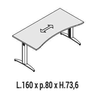 Immagine di Oxi Basic: Scrivania Sagomata P.80 L.160