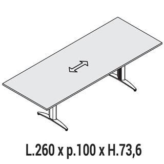 Immagine di Oxi Basic: Tavolo Riunione rettangolare L.260 x P.100