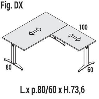Immagine di Oxi Basic: Scrivania lineare P.80 con allungo P.60 Dx o Sx