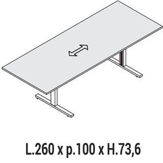Immagine di Oxi Trend: Tavolo Riunione rettangolare L.260 x P.100
