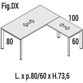 Immagine di Oxi Trend: Scrivania lineare P.80 con allungo P.60 Dx o Sx