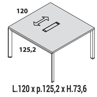 Immagine di Oxi Trend: Tavolo Riunione rettangolare L.120 x P.125,2 con TOP ACCESS