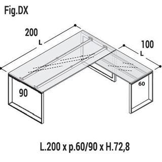 Immagine di 5th ELEMENT: Composizione Scrivania con gambe a loop in vetro L.200 x P.90 con Allungo Dx o Sx L.100 x P.60