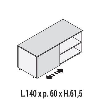 Immagine di 5th ELEMENT: MOBILE DI SERVIZIO L.140 TERMINALE DX O SX CON ANTINA SCORREVOLE E VANO AL GIORNO