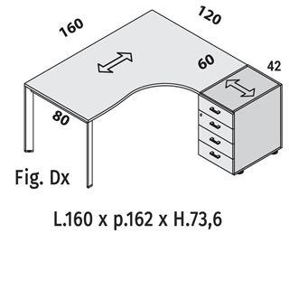 Immagine di Oxi Trend: Workstation P.120 con Cassettiera