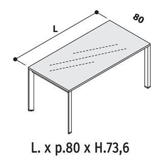 Immagine di Oxi Trend: Scrivania P.80 con Piano in vetro Retrolaccato