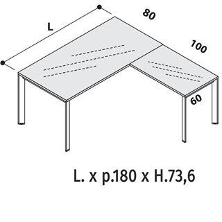 Immagine di Oxi Trend: Scrivania P.80 con Piano in vetro Retrolaccato e allungo da 100cm