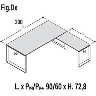 Immagine di 5th ELEMENT: Composizione Scrivania con a gambe a loop L.200 x P.90 con Allungo Dx o Sx