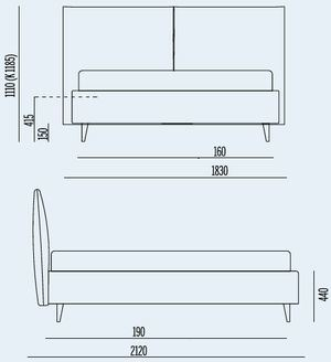 L.183cm x P. 212cm per Materasso da 160x190cm