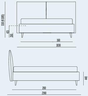 L.203cm x P. 219cm per Materasso da 160x200cm
