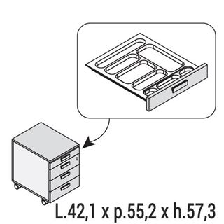 Cassettiera con porta cancelleria di 5th element