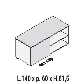 Immagine di 5th ELEMENT: MOBILE DI SERVIZIO L.140 TERMINALE DX O SX CON ANTINA SCORREVOLE E VANO AL GIORNO.
