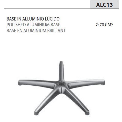 Base Alluminio Lucido Ø70/Braccioli neri [+€37,00]
