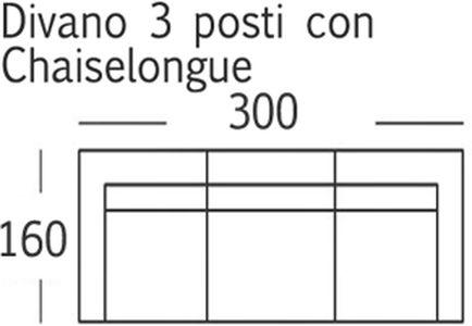 Dimensioni Divano 3 Posti.Vela A 3 Posti Chaise Longue Dosarredamenti It Arredamento